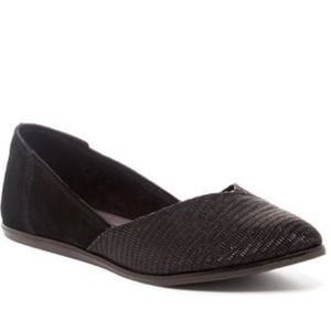 Toms Jutti Pointed Toe Flats Black Suede Emboss